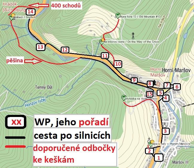 Mapa doporucené trasy